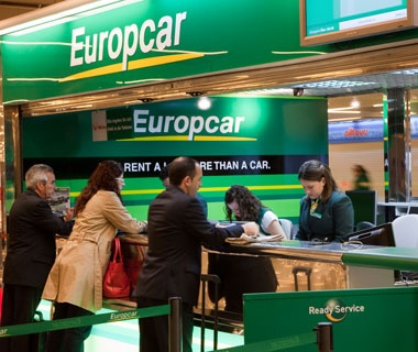 European car rental counter