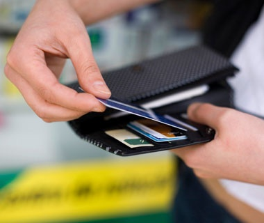 a wallet with credit cards