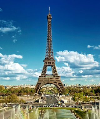 the Eiffel Tower over Paris, France