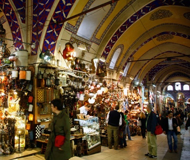 shops at Grand Bazaar in Istanbul, Turkey
