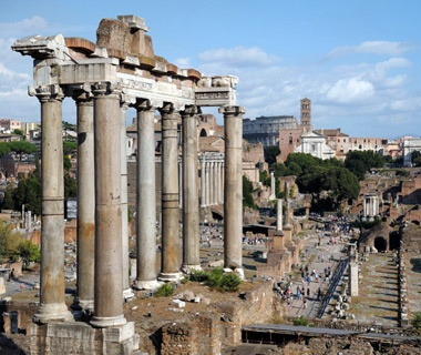tourists outside of Roman Forum in Rome, Italy