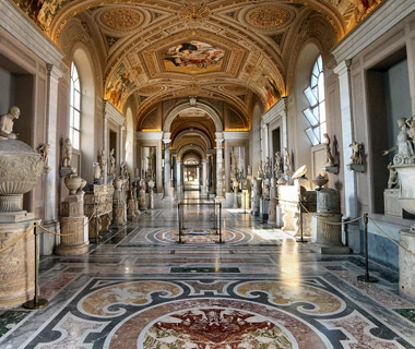 Art on display at the Vatican Museums in Rome, Italy