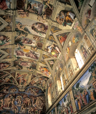 interior view of the Sistine Chapel in Vatican City, Rome