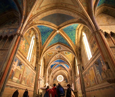 inside view of Basilica of St. Francis of Assisi, Italy