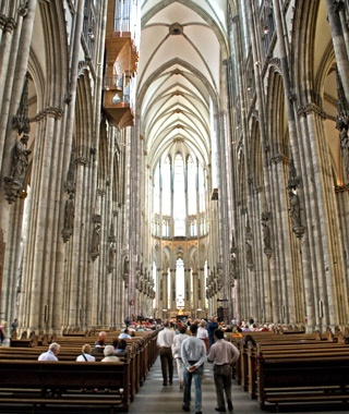 inside the Cologne Cathedral in Cologne, Germany