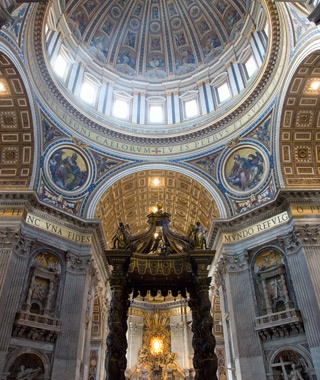 inside the St. Peter's Basilica at the Vatican City in Rome, Italy