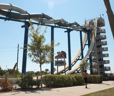 Cliffhanger waterslide at Schlitterbahn in Galveston, TX