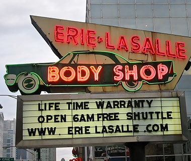 body shop neon sign