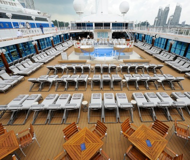 emtpy sun tanning deck on Azamara Club Cruises ship