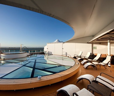 sun tanning chairs aboard a Seabourn cruise ship