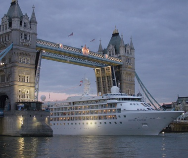Silversea cruise ship in London on the Thames River