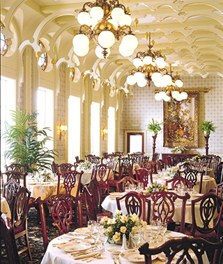 elegant dining hall aboard Avalon Waterways cruise ship