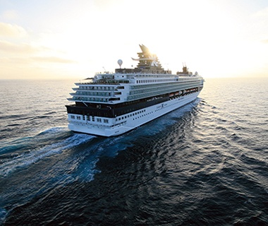 Celebrity Xpeditions all-inclusive cruise ship on the water