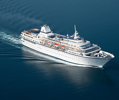 Voyages to Antiquity cruise ship on the water