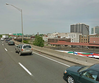 No. 13 I-84 WB over Amtrak, parking, local roads (Aetna Viaduct), Hartford, CT