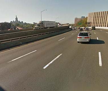 No. 17 I-84 EB over Amtrak, parking, local roads (Aetna Viaduct), Hartford, CT