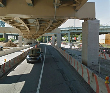 No. 19 NY Route 907P (Harlem River Drive) over ramp to NB Harlem River Drive, New York