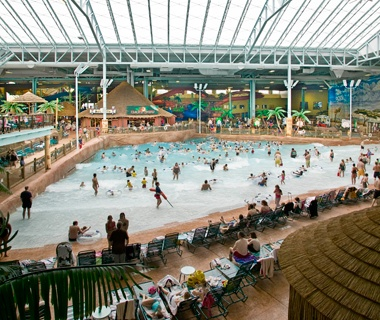indoor wave pool at Kalahari Water Park in Sandusky, OH