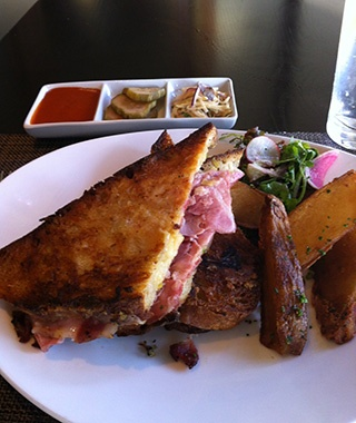 Craigie on Main, Boston: Grilled Two Cheese and Roast Pork Sandwich