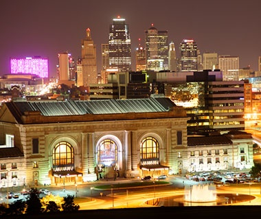 downtown Kansas City, MO at night