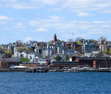 view of Portland, Maine from the water