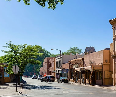 main street in Santa Fe, NM