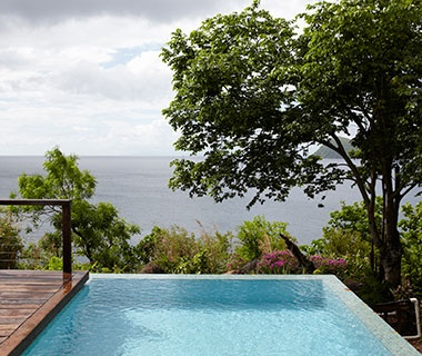 infinity pool at a resort in Dominica, Caribbean