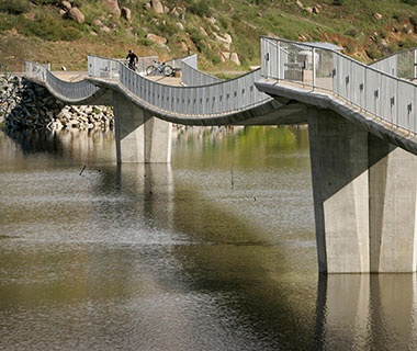 Longest Stressed-Ribbon Bridge: David Kreitzer Lake Hodges Bicycle/Pedestrian Bridge, Escondido, CA