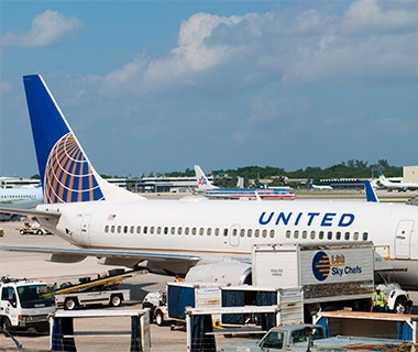 United Airlines airplane at an airport terminal
