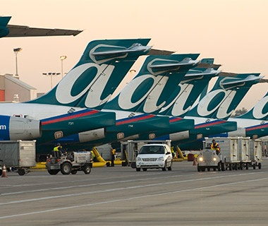 AirTran airplanes at the terminal