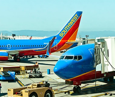 Southwest Airlines airplane at the terminal in the airport