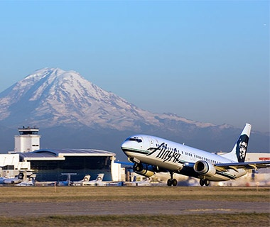 Alaska Airlines airplane taking off