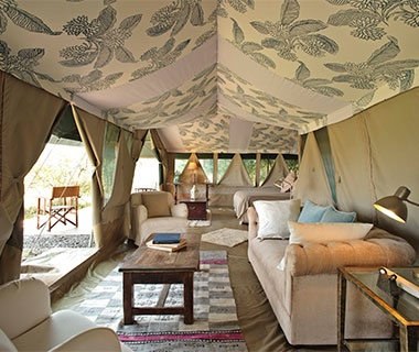 elegantly redesigned tents of Richard's River Camp, Kenya