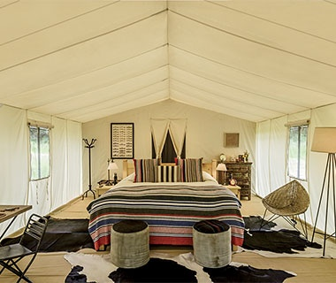 luxurious guest tent at Dunton River Camp at Cresto Ranch, CO