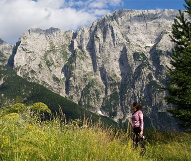 adventure traveler in the mountains of Slovenia