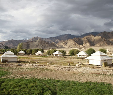 tents in the Indian country side