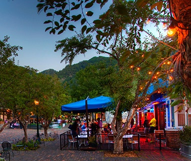 outdoor dining in summer in the mountains by Aspen, CO