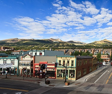 summertime in main street at the foot of the slopes in Breckenridge, CO