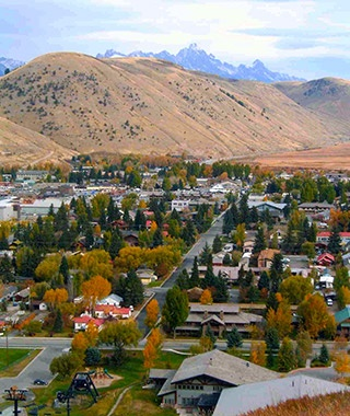town of Jackson, WY at the foot of the mountains