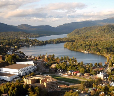aerial view of Lake Placid, NY