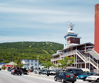 mountain town at the foot of the slopes in summer at Ludlow, VT