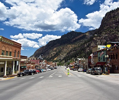 main street in the moutain town of Ouray, Colorado