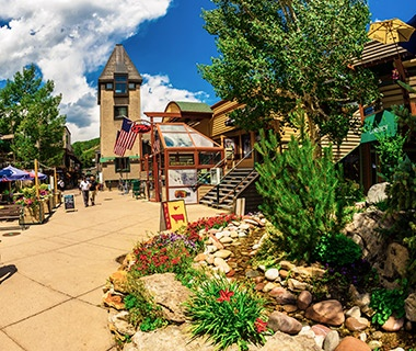 town sqaure in Snowmass Village in the mountains of Colorado