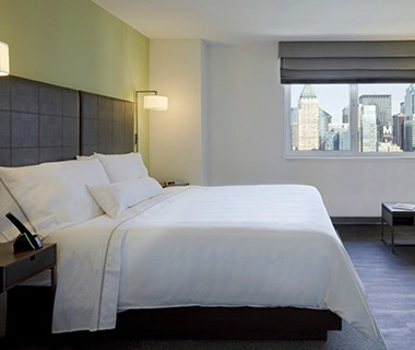 hotel bed at Element New York hotel Times Square West