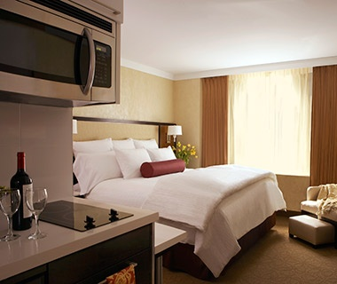 guest room at Staybridge Suites hotel in Times Square New York City, NY