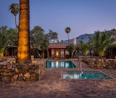 guest pools at Sparrows Hotel in Palm Springs, CA