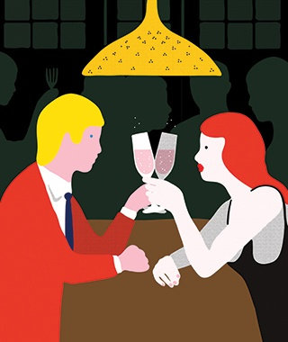 couple having a drink at a bar graphic