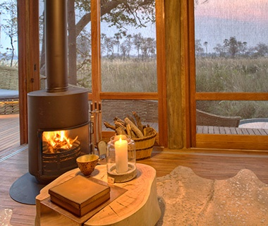 hotels with a fireplace in room.  Beyond Okavango Safari Lodge Botswana Most Romantic Hotel Fireplaces Travel Leisure