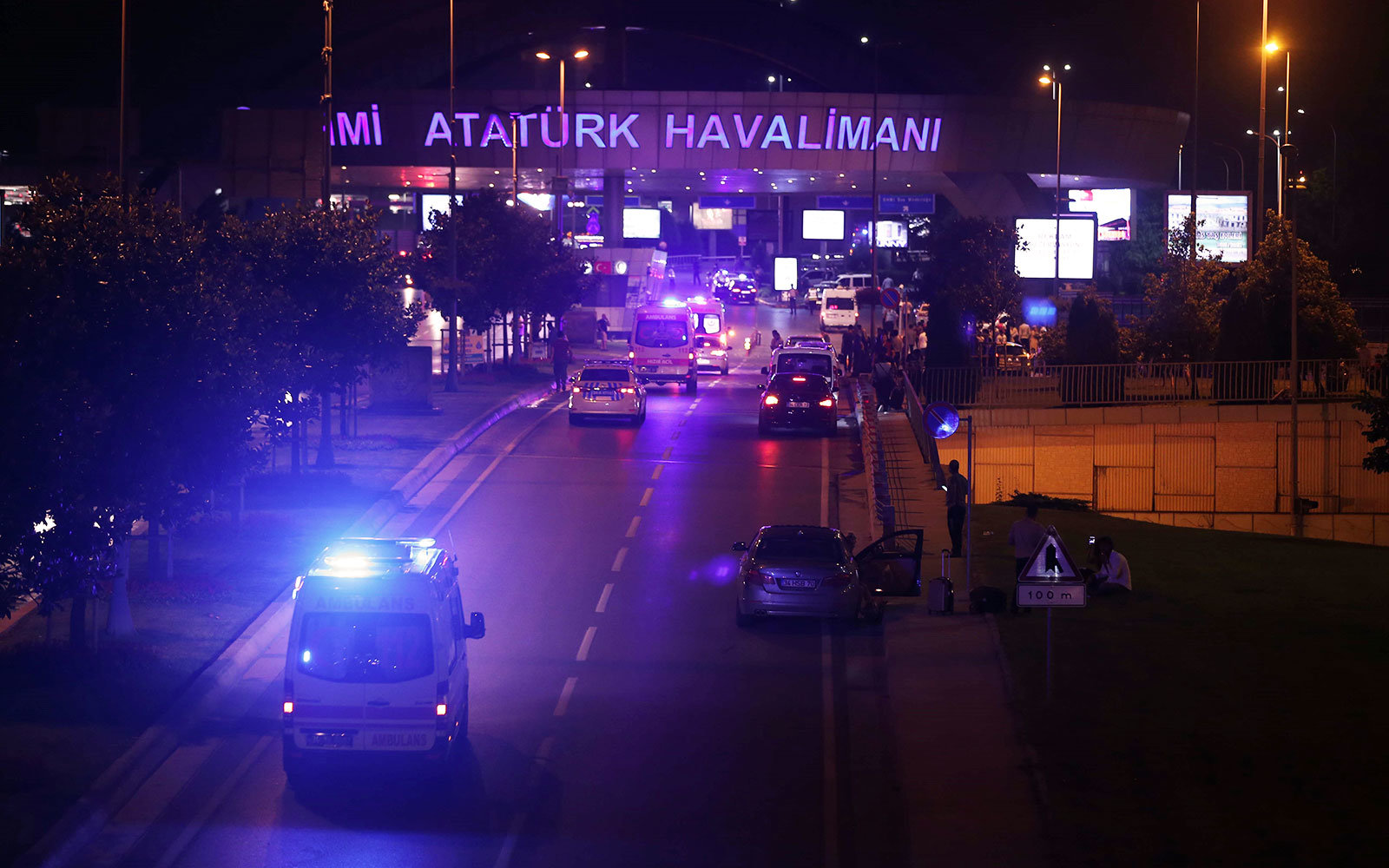 Ambulance driving towards Ataturk International Airport in Istanbul