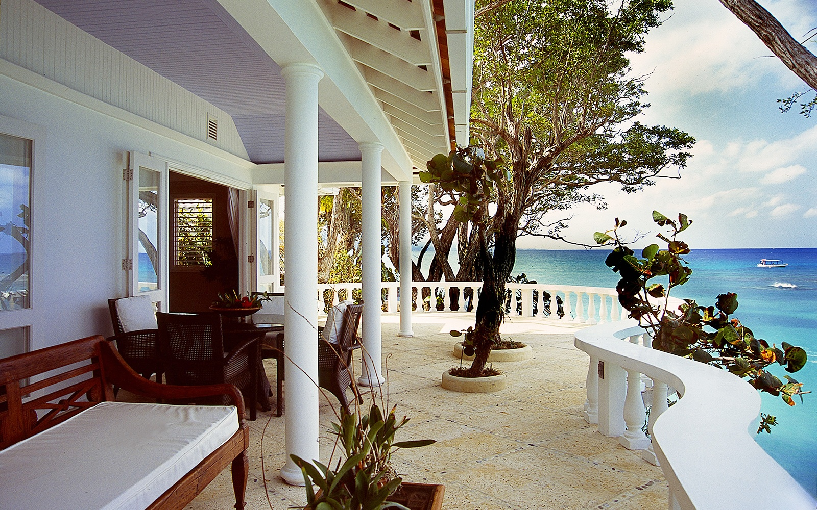 ocean view terrace at Jamaica Inn in Ocho Rios, Jamaica